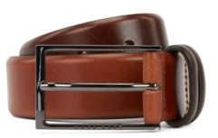 HUGO BOSS Two Tone Belt In Vegetable Tanned Leather - Brown
