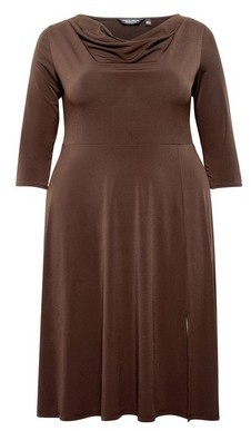 Dorothy Perkins Womens **Dp Curve Brown Cowl Neck Midi Dress, Brown
