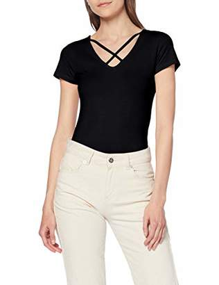 Only Women's Onllive Love S/s Lace Up Front Top JRS T-Shirt, Black, X-Small