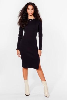 Nasty Gal Womens Get Slit Together Ribbed Midi Dress - Black