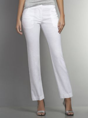 New York & Co. Linen Straight Leg Crop Pant