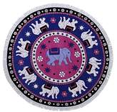 South Beach South Beach, Soft Fringed Edge Cotton Velour Swimming Pool Holiday Round Towel, Elephant, One Size