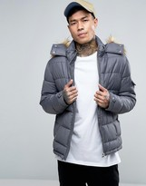 Asos Quilted Jacket with Fur Trim Hood in Gray