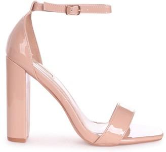 Linzi TORI - Nude Patent Square Toe Barely There Block Heel