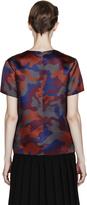 Christopher Kane Burgundy Silk Camo Print T-Shirt