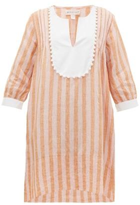 Wiggy Kit - Tux Trapeze Striped-linen Kaftan - Womens - Pink Stripe