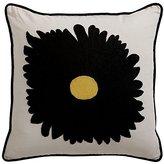 Ethan Allen Black Gerber Daisy Crewel Pillow
