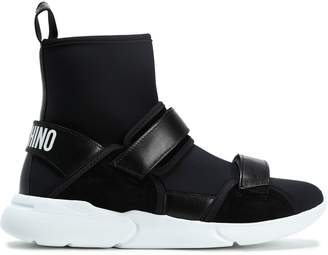 Moschino Leather-trimmed Neoprene High-top Sneakers