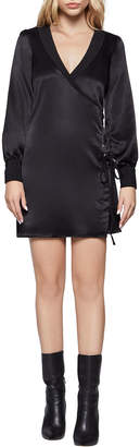 BCBGeneration Bias-Cut Grommet Tie Mini Dress