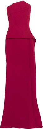 Roland Mouret Addover Strapless Stretch-crepe Peplum Gown