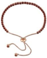 Allura 3 3/4 CT. T.W. Garnet Bolo Bracelet with Tassel in Rose Plated Sterling Silver