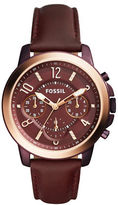 Fossil Gwynn Stainless Steel and Leather Strap Watch, ES4116
