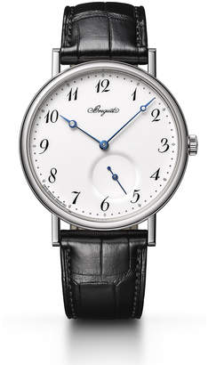 Breguet 40mm Classique 18k White Gold Watch w/ Alligator Strap, Black/White