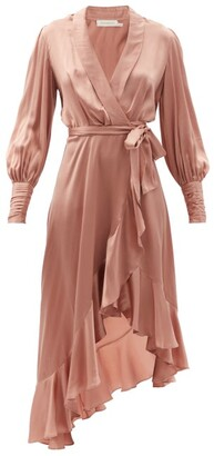 Zimmermann Bishop-sleeve Silk Wrap Midi Dress - Light Pink