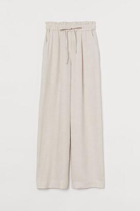 H&M Wide-cut Pants - Beige