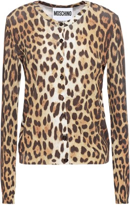 Moschino Leopard-print Stretch-knit Cardigan