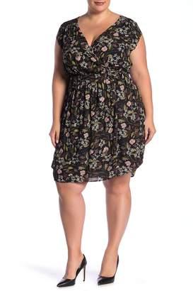 Dr2 By Daniel Rainn Surplice Neck Floral Print Belted Dress (Plus Size)