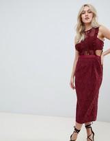 Asos Design DESIGN lace pencil midi dress with frill pinny bodice