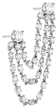 Anita Ko Bianca 18K White Gold & Diamond Double-Piercing 3-Loop Single Earring