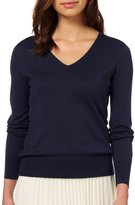 Wool Overs WoolOvers Womens Silk and Cotton Long Sleeve V Neck Knitted Sweater , M