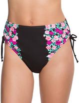 Betsey Johnson Black Ballerina Rose High-Waist Bikini Bottoms