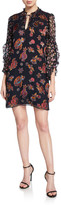 Alice + Olivia Julius Floral Ruffle-Sleeve Mini Shift Dress