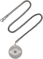 Ileana Makri Titan Evil Eye 18-karat rose gold, gunmetal and silver-tone, diamond and sapphire necklace