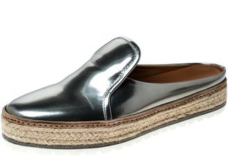 Brunello Cucinelli Metallic Silver Leather Espadrille Mules Size 40