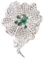 Mellerio Diamond and emerald flower brooch