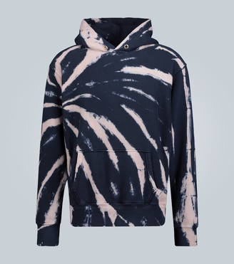 LES TIEN Cropped tie-dye hooded sweatshirt