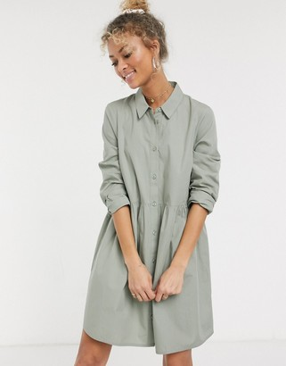 ASOS DESIGN cotton mini smock shirt dress in khaki