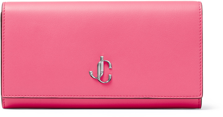 Jimmy Choo MARTINA Bubblegum-Pink Smooth Calf Leather Wallet with JC Emblem