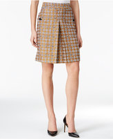 Nine West Pleated Metallic Houndstooth Skirt