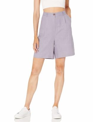 The Drop Women's Millie Loose-Fit Pleated Long Linen Walk Short