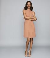 Reiss LINNEA PLEATED SLEEVELESS MINI DRESS Pink
