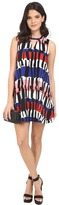BB Dakota Pauline Temple Stripe Printed Rayon Challi A-Line Dress