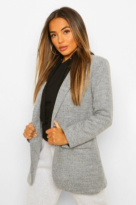 boohoo Petite Single Breasted Wool Look Coat