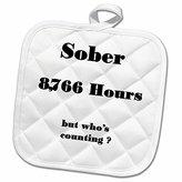3dRose Florene - Sobriety Messages - Image of Sober 1 Year Or 8766 Hours - 8x8 Potholder (phl_233718_1)