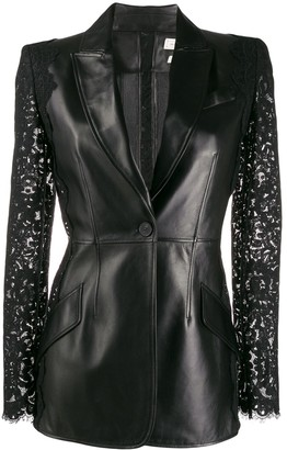 Alexander McQueen lace sleeve leather jacket