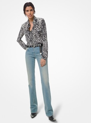 Michael Kors Collection Speckled Pony Print Silk Crepe de Chine Shirt