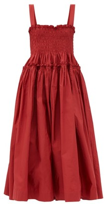 Molly Goddard Kayla Shirred Taffeta Midi Dress - Red