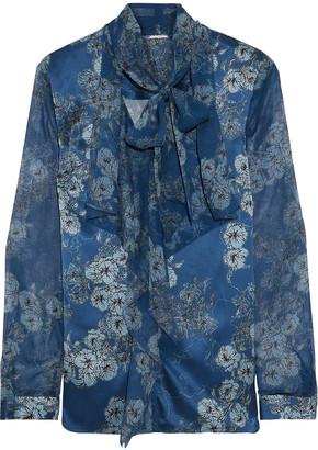 Elie Tahari Jurnee Chiffon-paneled Floral-print Silk-satin Blouse