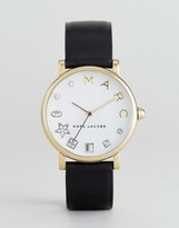 Marc Jacobs Classic Mj1599 Leather Watch In Black