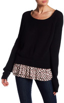 Maje Chiffon Trim Linen Blend Sweater