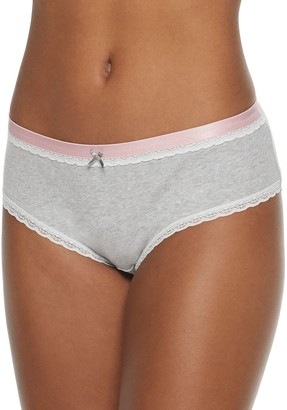 So Juniors' Soft Cotton Hipster with Elastic and Lace Trimmings