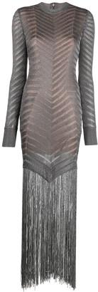 Herve Leger Fringed Knitted Cocktail Dress