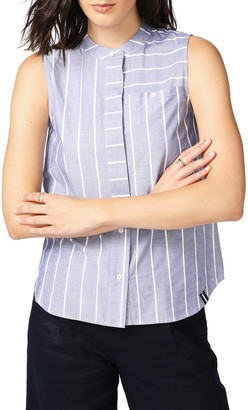 Court And Rowe Rope Stripe Sleeveless Cotton Button-Up Blouse