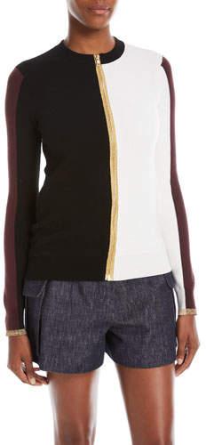 Derek Lam Colorblocked Zip-Front Knit Jacket