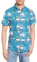 Bonobos Men's Slim Fit Flamingo Print Short Sleeve Sport Shirt
