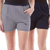 Board Angels Womens Striped/Plain Two Pack Shorts Navy